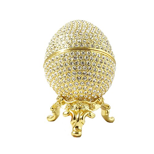 Faberge Style Egg Box 24k Gold Plated Swarovski Crystal Russian Figurine Trinket Jewelry Ring Holder Box
