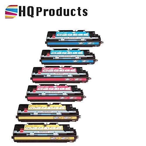 HQ Products Premium Remanufactured Replacement HP 308A 6Pk Set (2xQ2671A, 2xQ2672A, 2xQ2673A) Cyan, Yellow, Magenta Toner Cartridges for use in HP Color LaserJet 3500, 3500N, 3550, Series Printers.