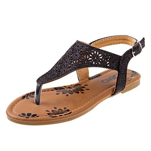 Josmo Girl's T-Strap Glitter Thong Sandals, Black, 2 M US Little Kid'