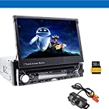 7in Single Din Touchscreen Bluetooth Head unit Flip Out Receiver Car DVD CD Player Stereo Gps Navigation with Backup Camera Kit and 8G Map Card