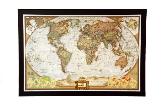 GIANT SIZE BEST SELLING push pin map of the World Nat Geo's Executive World FRAMED 78.5 X 53.5'' Pin board MAP with Mahogany Finish Frame is the best push pin travel map for home or office by National Geographic
