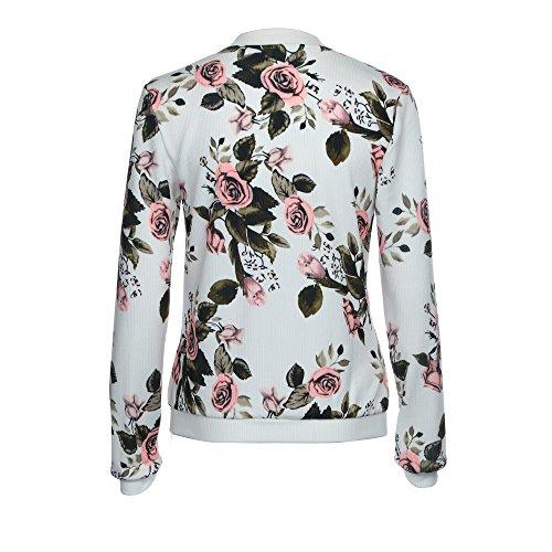 Veste Fleur Zipper Femme Imprimer Floral Up Automne Bomber Chic Rwq5zAxf