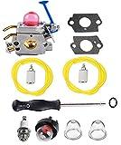 Podoy 128LD Carburetor for Husqvarna String Trimmer Zama 128CD Adjustment Tool Gasket Kit with Fuel Line Primer Bulb C1Q-W40A 545081848 128CD 128C 128L 128R 128RJ