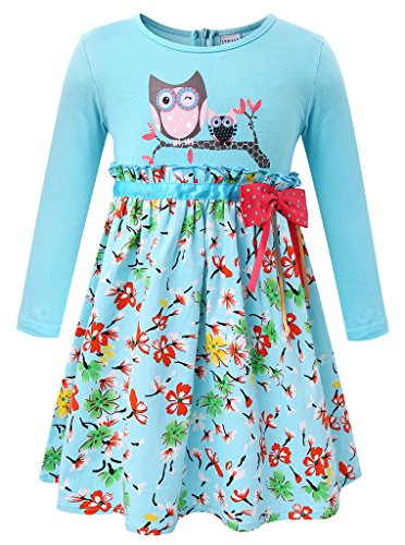 Girls Owl Printed Pure Cotton Long Sleeve Casual Flower Pleated (Girls Spring Dress)
