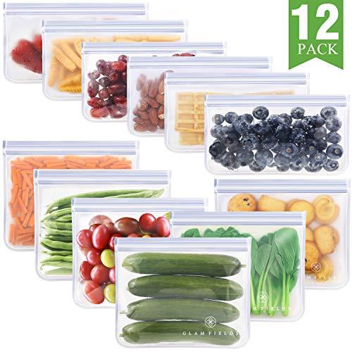 Cheap Reusable Bags (12 Pack Reusable Storage Bags, Glamfields Waterproof Reusable Snack Bags Leakproof Freezer Ziplock Bags Food Grade PEVA Lunch Bags for Sandwich and Fruit (12)