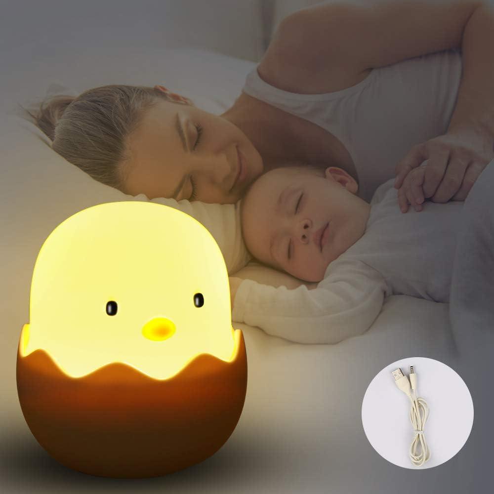 Etmury - Lámpara LED de noche para niños, lámpara táctil para dormitorio, lámpara de noche con luz amarilla e interruptor táctil, lámpara de noche para leer, dormir y relajarse