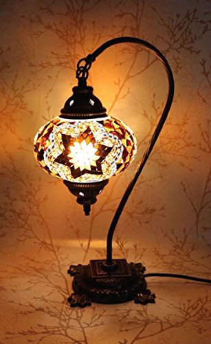 New BOSPHORUS Stunning Handmade Swan Neck Turkish Moroccan Mosaic Glass Table Desk Bedside Lamp Light with Bronze Base (Brown) by CopperBull