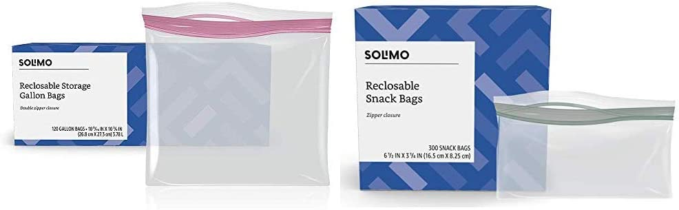 Amazon Brand - Solimo Gallon Food Storage Bags, 120 Count & Snack Storage Bags, 300 Count