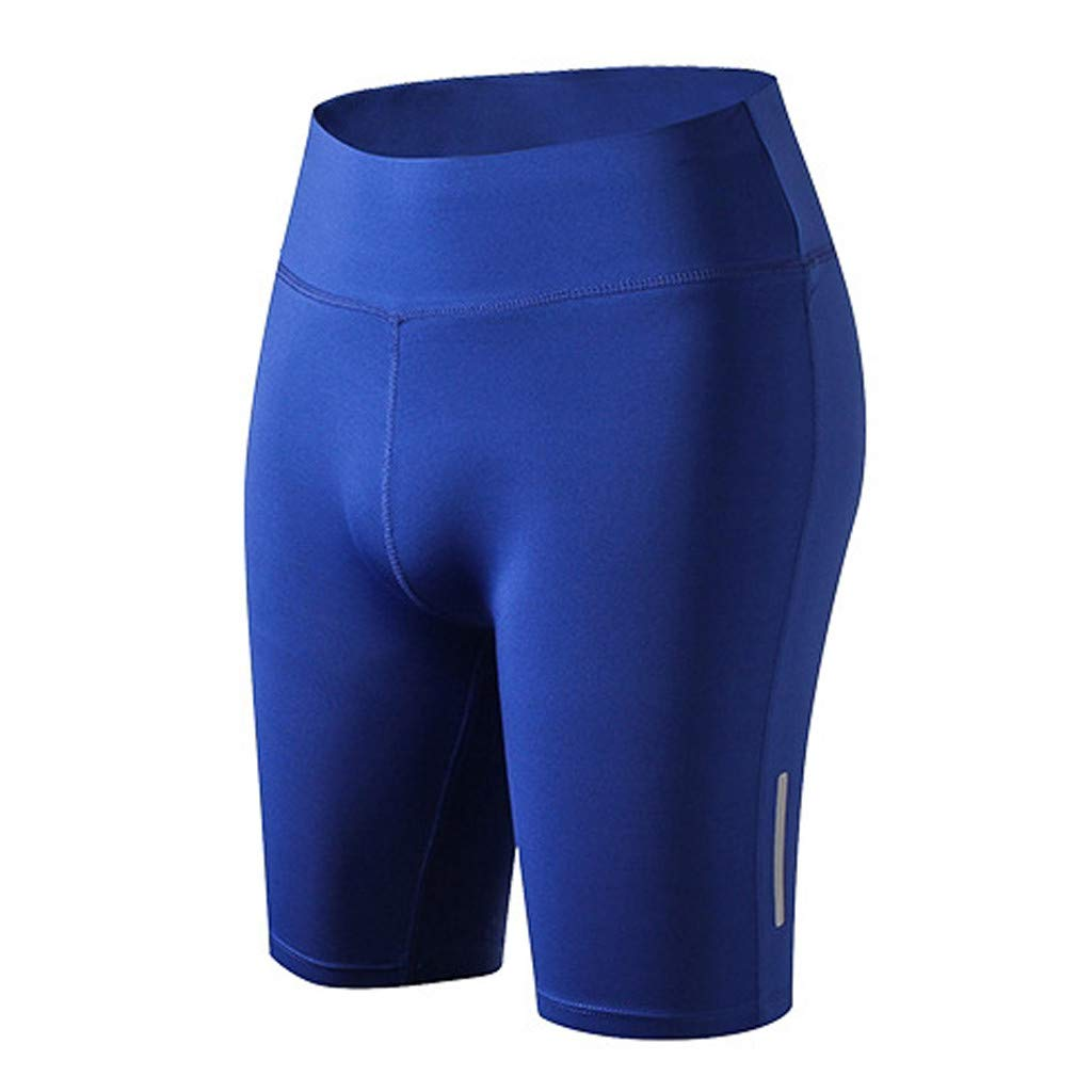 4Clovers Women's High Waist Yoga Pants Workout Running Capri Leggings Active Athletic Leggings Blue