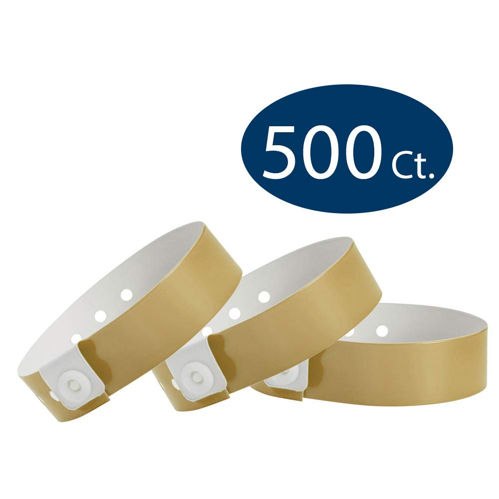 WristCo Gold Vinyl Wristbands - 500 Pack Wristbands for Events by Wristco