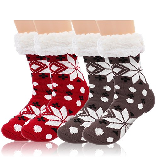 2 Pairs Women's Winter Fleece Lined Thermal Fuzzy Christmas Slipper Socks With Grippers (Size Stockings Lined Plus)