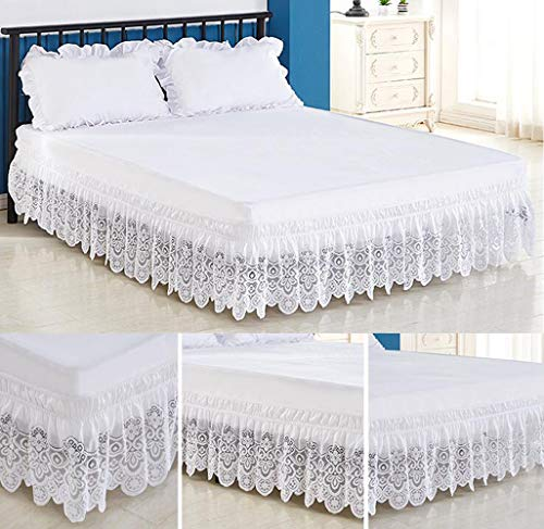 Queen Ruffles Dust Size - Tebery Lace Trimmed Elastic Bed Wrap Easy Fit Dust Ruffle Bedskirt (Queen)