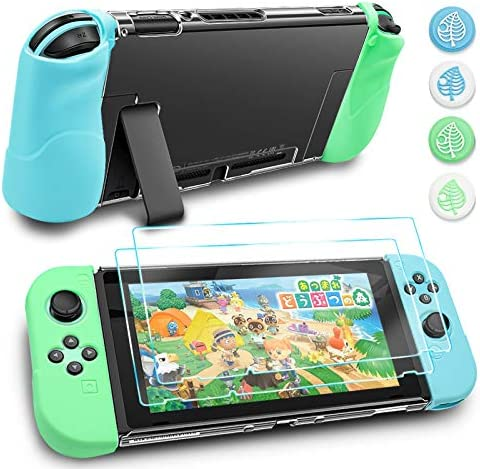 DLseego Animal Crossing Protective Case Compatible with Nintendo Switch,3 in 1 Protective Grips Case with [2 Pack] Screen Protector &Leaf Thumb Grip Caps for Accessories Kit-Green+Blue