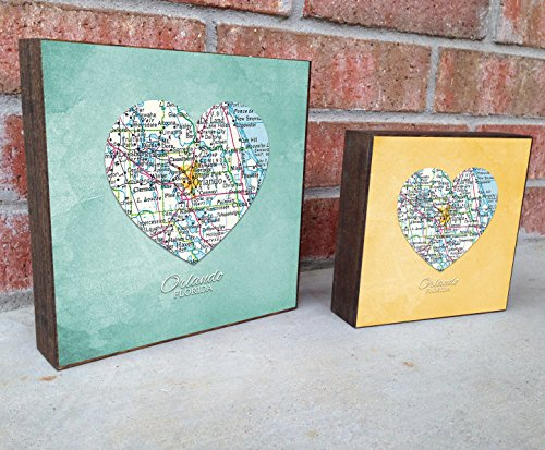 Orlando Florida Vintage Heart Map Art Print on Wooden Block Canvas, Home & Wall Decor, Wedding-Housewarming - Birthday - Valentines Day - Christmas gift for her Block City Map Art