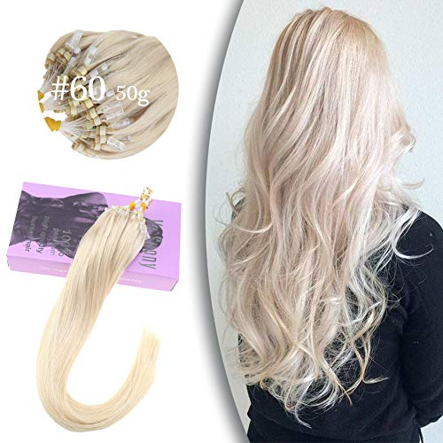 VeSunny 14inch #60 Platinum Blonde Micro Loop Hair Extensions Remy Human Hair with Micro Beads Silky Straight Real Hair Loop Micro Ring Hair Extensions 1G 50 Strands (Micro Extensions Hair Human)