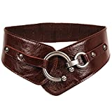 Women's Leather Elastic Waist Belt Cinch Dressy Tea Party Ceinture Dress Belts (Brown)