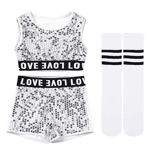 Yeahdor Kids Boys Girl's Shiny Sequins Jazz Hip Hop Dance Outfits Stage Performance Costumes Dancewear Crop Top with Shorts & Sock Set Silver 8-10