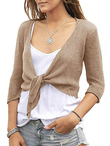 (YeMgSiP Women's Tie Front Shrug Cropped Bolero 3/8 Sleeve Open Cardigans Small Fragrance Short Shawl Khaki)