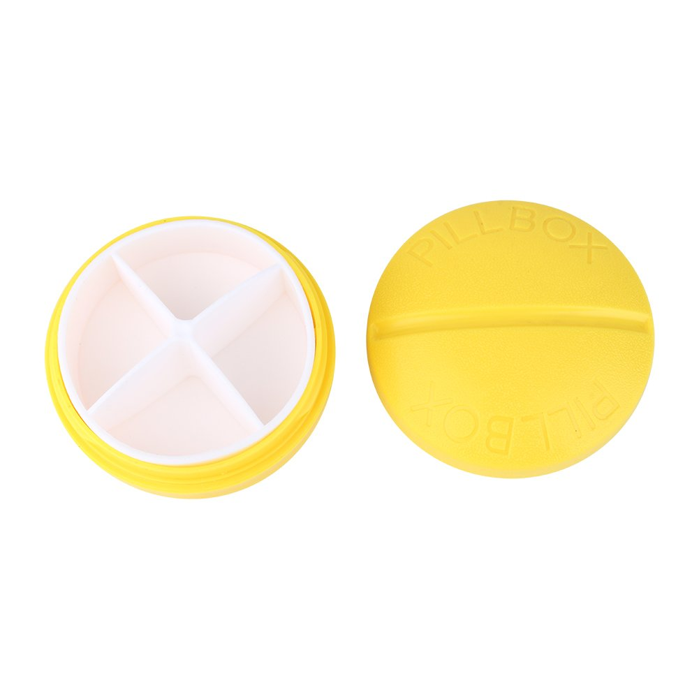 4 Slots Pill Box Tablet Medicine Case Storage Splitters Cases Yellow