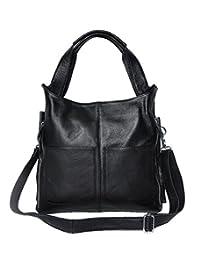 SAIERLONG Women's Tote Single Shoulder Bag Handbag Black Cow Leather
