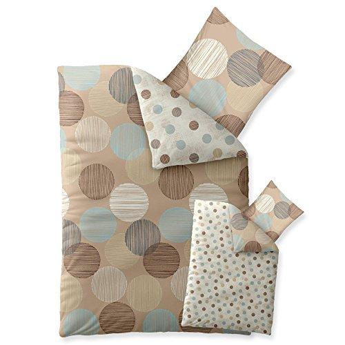 2-teilige Bettwäsche   verschiedene Größen   4-Jahreszeiten 155 x 220 cm   Baumwolle Trend Wendedesign Fara 2 tlg.   Punkte gestreift natur beige blau braun