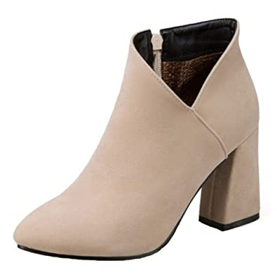 FizaiZifai Women Fashion High Heel Dress Boots Ankle High Beige Size 34 Asian