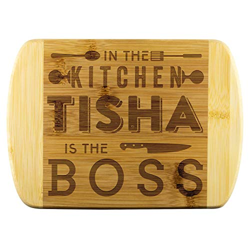 Funny Gift Ideas for Woman Love Kitchen - In The Kitchen Tisha Is The Boss - Personalized Cutting Boards, Wedding Gift, Engagement, Anniversary Gifts, Housewarming, Birthday Gifts