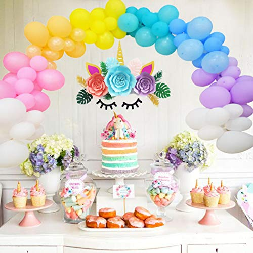 Beaumode DIY Rainbow Balloon Garland Kit 105 Latex Balloons for Unicorn Party Ice Cream Party Rainbow Balloon Arch Baby First Birthday Bridal Shower Baby Shower Party Photo Booth Backdrop