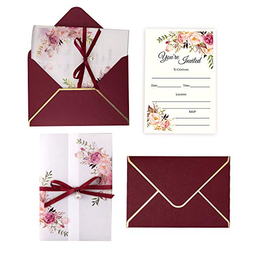 Wedding Invitation Sets (Doris Home 250 GSM 5 x7.3 inch Invitations Cards with Envelopes and Printed Inner Sheets for Bridal Shower Invite, Baby Shower Invitations, Wedding, Rehearsal)
