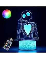 SJIAHEE Halloween Town Pumpkin King Jack Skellington 3D Illusion Night Light Gifts, Control Halloween Decor for Kids Bedroom, Creative Lighting for Kids