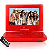 Upgraded Pyle 9 Inch inch Portable DVD Player, Travel Player, Headrest Car CD DVD Player, Battery, USB/SD, Headphone Jack, Includes Wireless Remote Control, Car Charger, Travel Bag, Red (PDV91RD)