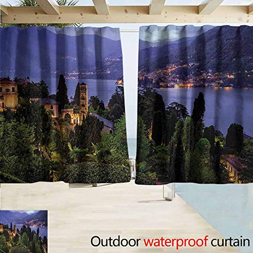 AndyTours Rod Pocket Top Blackout Curtains/Drapes,Italian Lago Di Camo Lake Famous Coastal Village with Aerial View Picturesque Panorama,Simple Stylish Waterproof,W55x39L Inches,Blue Green