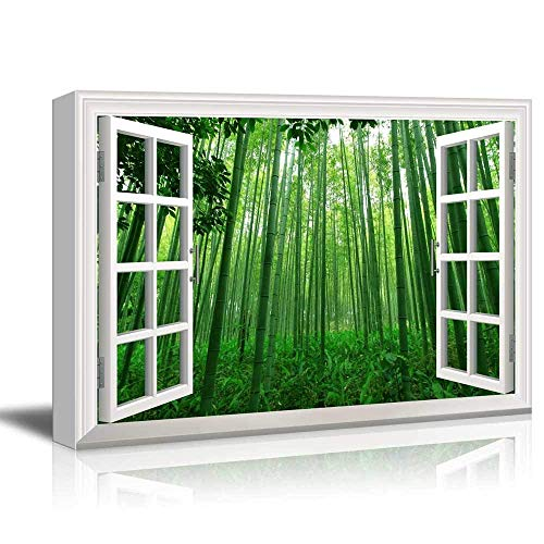 White Window Looking Out Into a Green Bamboo Forest