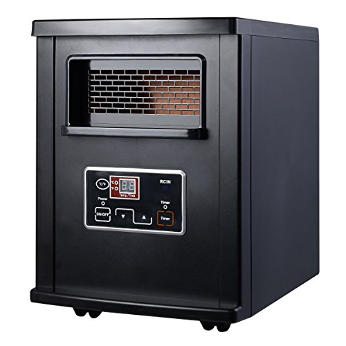 NEW Black Goplus 1800 Sq. Ft Electric Portable Infrared Quartz Space Heater Remote