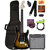 Squier by Fender Affinity Strat HSS Pack - Brown Sunburst with Frontman 15G Amplifier, Cable, Gig Bag, Tuner, Strap, Picks, Austin Bazaar Instructional DVD, Polishing Cloth