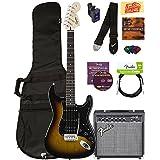 Squier by Fender Affinity Strat HSS Pack - Brown Sunburst with Frontman 15G Amplifier, Cable, Gig Bag, Tuner, Strap, Picks, Austin Bazaar Instructional DVD, Polishing Cloth