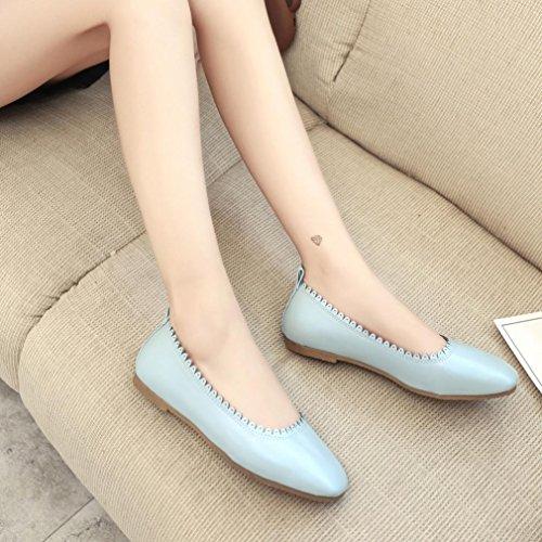 Saingace Frauen weiches Freizeit-flache weibliche beiläufige Schuhe Tanzschuhe Erbsen-Schuhe Blau