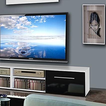 Paris Prix Mueble TV pared invento VI 240 cm negro & blanco: Amazon.es: Hogar