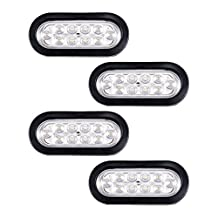 "4X Bright White 6000K Oval Oblong 6"" LED Brake Stop Running Turn Tail Light Car UTV RV Trailer Truck Boat Caravan"