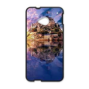Personalized protective cell phone case for HTC M7,glam river castle design