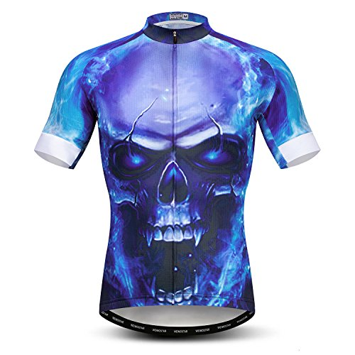 Men's Cycling Jersey Bike Shirts Short Sleeve Bicycle Clothing MTB Cycle Jacket Devil Blue Size L