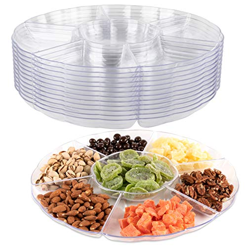 (Impressive Creations Clear Round Plastic Serving Tray - 6 Compartment Reusable Party Supply Tray - Perfect for Serving Appetizers, Finger Foods, Dipping Sauce, and More)