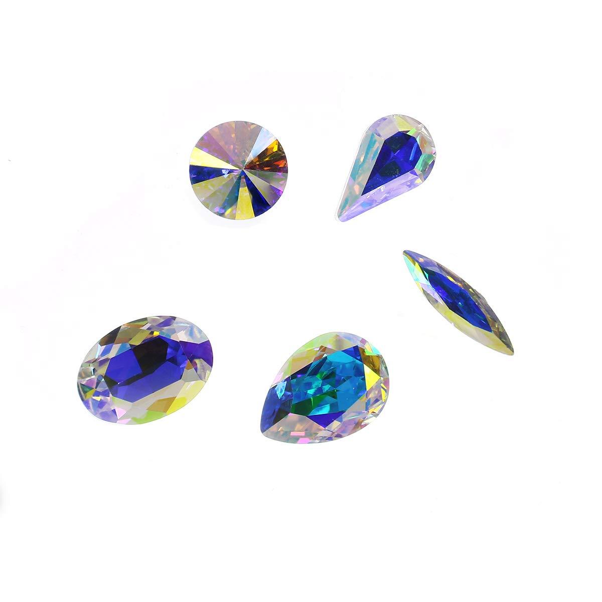 Mixed Shape Fluorescence Aquamarine Point Back Rhinestone Nail Art Beads Jewellery Making Glitter Glass Rhinestones Diy Nail Art Stones