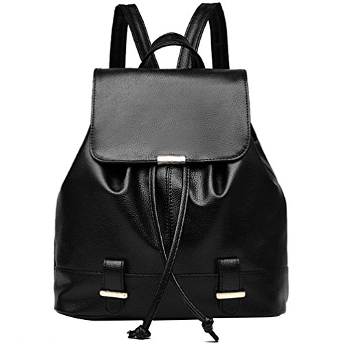 Travel Purse School Backpack For Black Ladies Durable Girl 9814 Bag Leather LIZHIGU Women ntXqxCcwaY