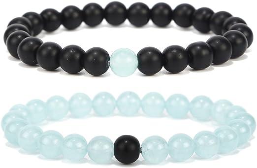100/% Stone Long Distance Bracelets Lovers Couple Black Onyx White Turquoise 2pcs