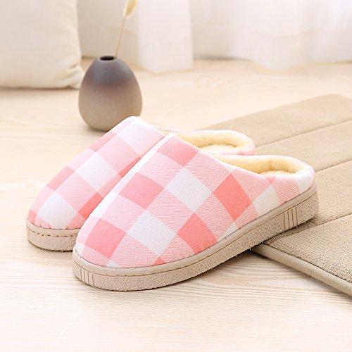 LaxBa Femmes Hommes chauds dhiver Chaussons peluche antiglisse intérieur Cotton-Padded Rose Chaussures Slipper40-70 = Convient pour 39 ou 40 pieds