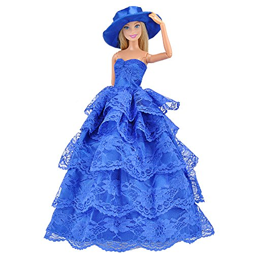 E-TING Barbie Fashionista Handmade Dresses 1 pcs Beautiful Evening Dress Set with Hat and Party Gown Dresses for Barbie Dolls (Turkish Blue)