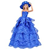 E-TING Rose Blue Flowers Lace Princess Dresses Clothes For Barbie Doll(1-Piece) – Fashionable Dresses and Outfits for Girl Toys -Vintage Fashion, Styles and Patterns