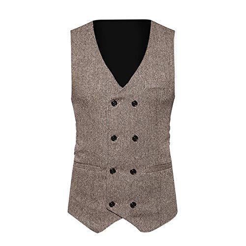 TANGSen Men Formal Tweed Check Vest Double Breasted Casual Waistcoat Retro Slim Fit Formal Stylish Suit Jacket - Tweed Jessica Blazer