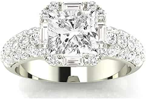 1.5 Carat GIA Certified Cushion-Cut 14K White Gold Designer Popular Halo Style Baguette and Pave Set Round Diamond Engagement Ring (D-E Color VS1-VS2 Clarity Center Stones)
